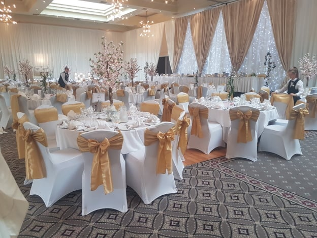 Custom Draping With Cherry Blossom Lanterns & Table Centrepieces