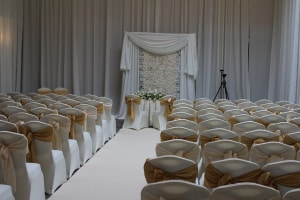 Wedding Products-Flower Wall Behind Registrars Table