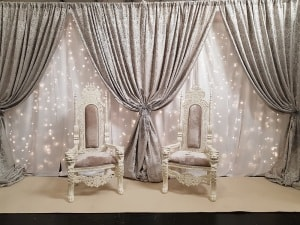 Wedding Products-Custom Built Fairylight Backdrop In White & Silver
