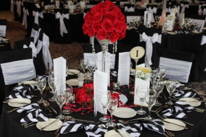Wedding Products-Table Centre Martini Glasses With Red Roses