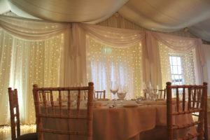 Custom Built Fairy Light Backdrop Rathsallagh House Hotel Dunlavin Wicklow-Wedding Draping – Rathsallagh House Hotel – Wicklow – Ireland