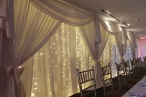 Custom Built Fairylight Backdrop-Ballymascanlon-Hotel-Dundalk-County Louth-Wedding Draping in Ballymascanlon Hotel, Dundalk, County Louth