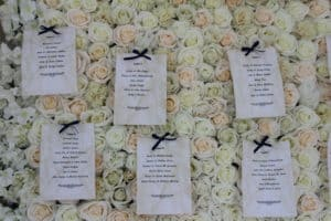 Flower-Wall-As Table-Plan-Ballymascanlon-Hotel-Dundalk-County Louth-Wedding Draping in Ballymascanlon Hotel, Dundalk, County Louth