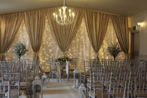 Wedding Products-Custom Built Fairylight Backdrop In Ivory & Gold
