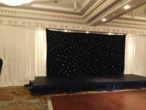 Black Starcloth, Powerscourt Hotel, Enniskerry, County Wicklow-Wedding Draping in Powerscourt Hotel, Enniskerry, County Wicklow