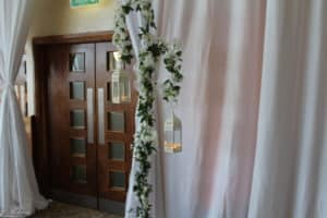 Cherry-Blossom-White-Shepard-Crook-Lantern-For-Entrance-Trim-Castle-Meath-Ireland-Wedding-Draping-Trim-Castle-Hotel-Co- Meath-Ireland