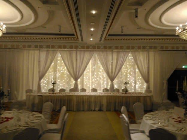 Custom Built Fairy Light Backdrop, Powerscourt Hotel, Enniskerry, County Wicklow-Wedding Draping in Powerscourt Hotel, Enniskerry, County Wicklow