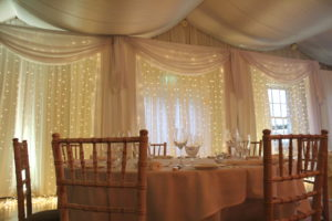 Custom Built Fairy Light Backdrop Rathsallagh House Hotel Dunlavin Wicklow-Wedding Draping – Rathsallagh House Hotel – Wicklow – Ireland