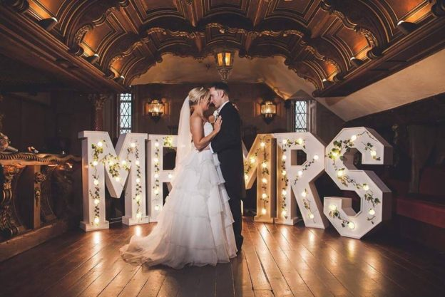 Light Up Letters Mr & Mrs With Ivy Dressing, Belleek Castle, Ballina, Mayo Weddings By Wow-Weddings