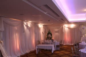 Draping-Floor-To-Ceiling-Ballymascanlon-Hotel-Dundalk-County Louth-Wedding Draping in Ballymascanlon Hotel, Dundalk, County Louth