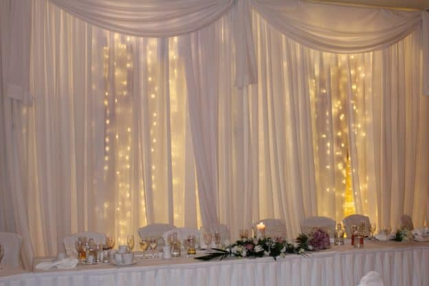 Fairylight-Backdrop-Finnstown-Castle-Hotel-Lucan-Dublin-County-Dublin-Wedding Draping in Finnstown Castle Hotel, Lucan, Dublin, County Dublin
