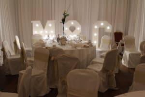 Light-Up-Letters-Finnstown-Castle-Hotel-Lucan-Dublin-County-Dublin-Wedding Draping in Finnstown Castle Hotel, Lucan, Dublin, County Dublin