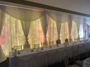 Custom Built Fairy Light Backdrop, Raheen Woods Hotel, Athenry, Co. Galway