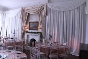 Wedding Drapery In Ivory & Gold, Bellurgan Park, Bellurgan, Dundalk, Co. Louth